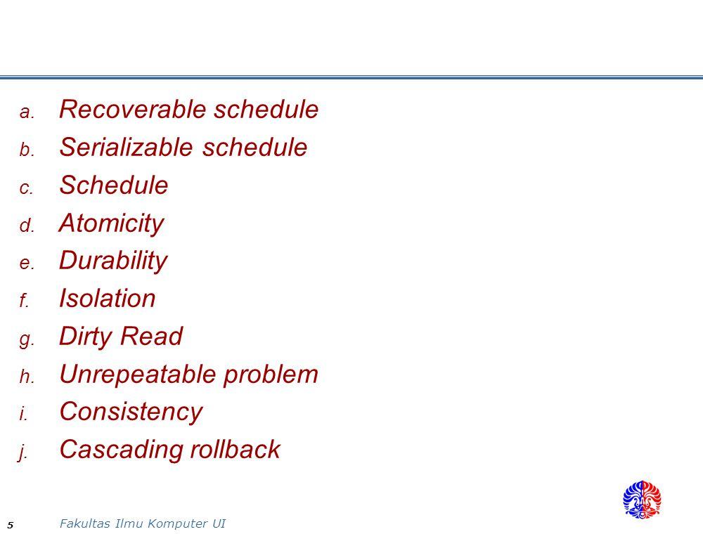 Serializable schedule Schedule Atomicity Durability Isolation