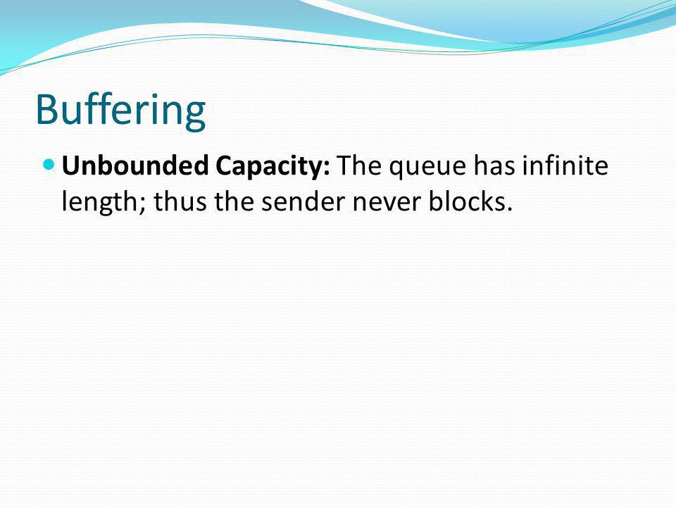 Buffering Unbounded Capacity: The queue has infinite length; thus the sender never blocks.