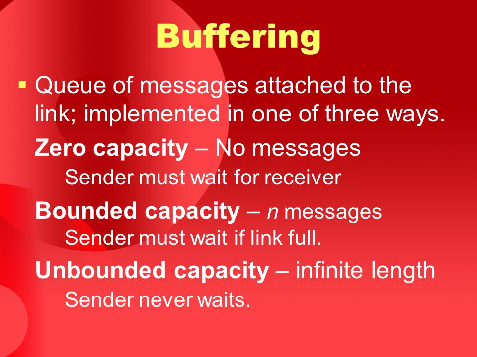 Buffering Queue of messages attached to the link; implemented in one of three ways. Zero capacity – No messages Sender must wait for receiver.
