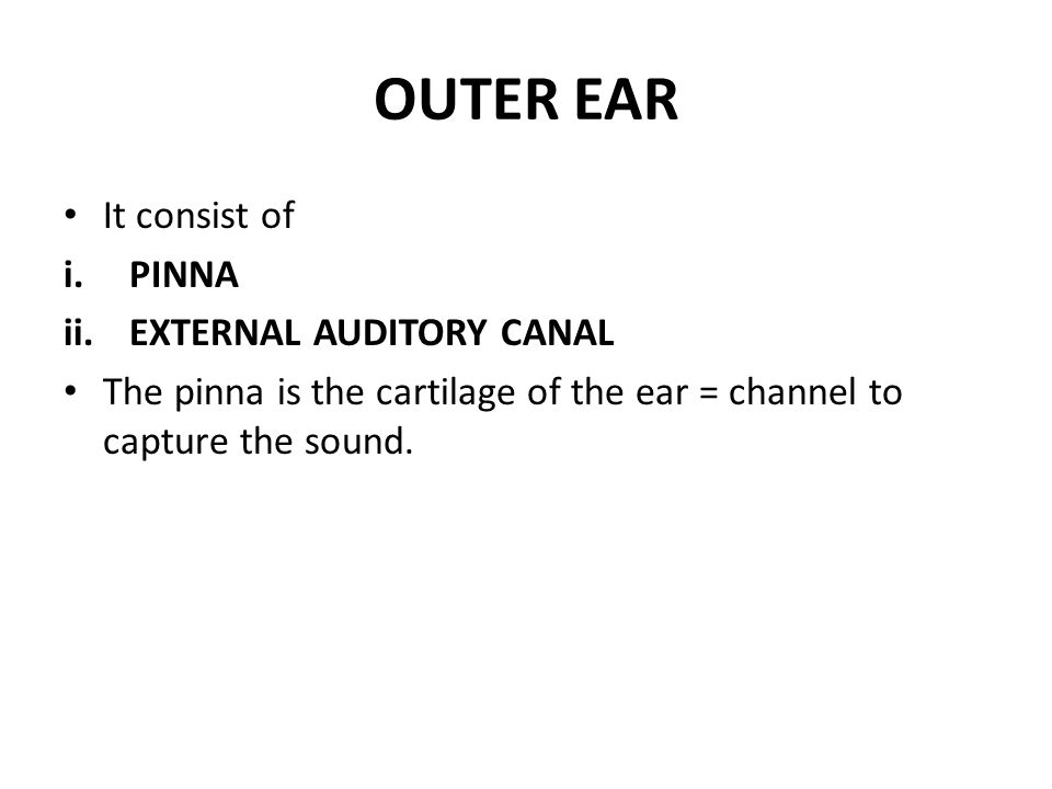 OUTER EAR It consist of PINNA EXTERNAL AUDITORY CANAL