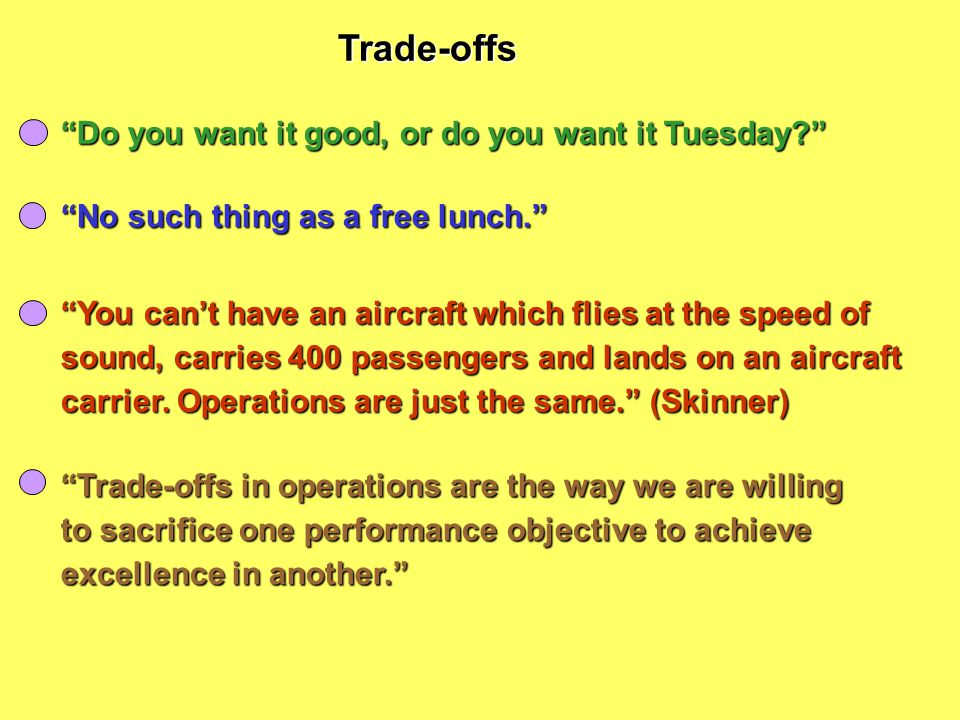 Trade-offs Do you want it good, or do you want it Tuesday
