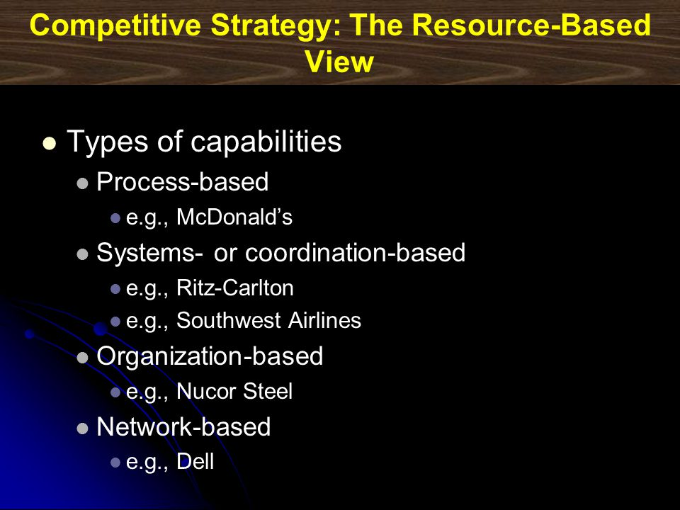 Competitive Strategy: The Resource-Based View