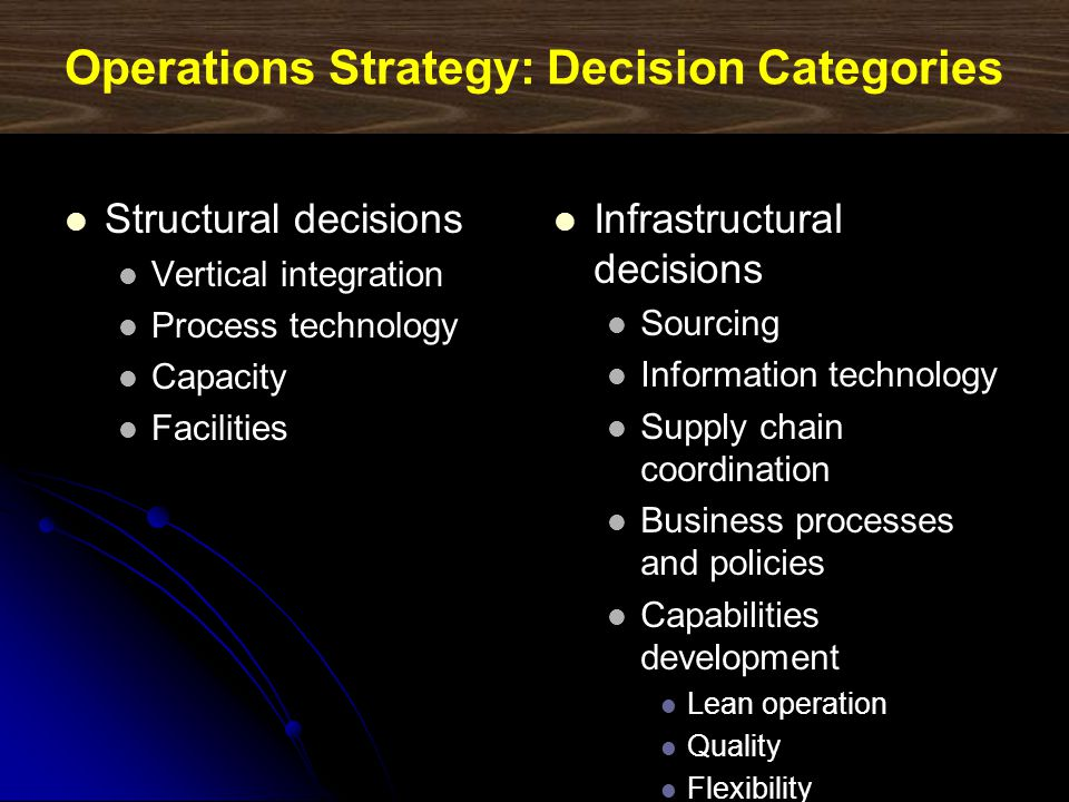 Operations Strategy: Decision Categories