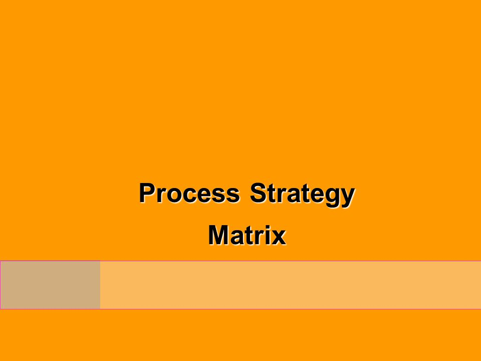 Process Strategy Matrix