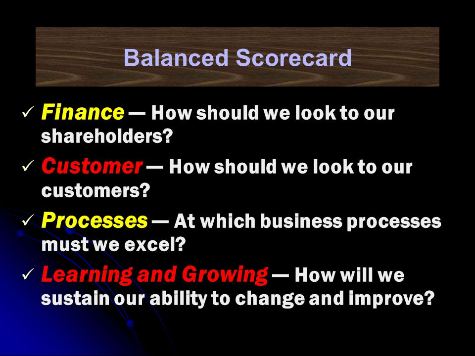 Balanced Scorecard Finance — How should we look to our shareholders Customer — How should we look to our customers
