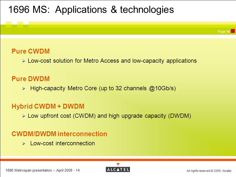 1696 MS: Applications & technologies