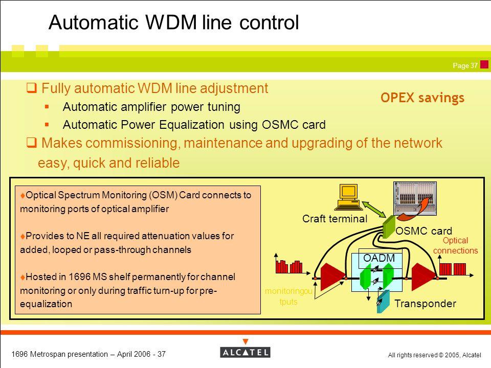 Automatic WDM line control