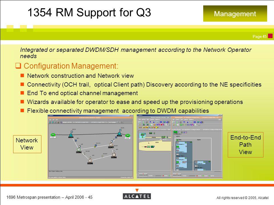 1354 RM Support for Q3 Configuration Management: Management