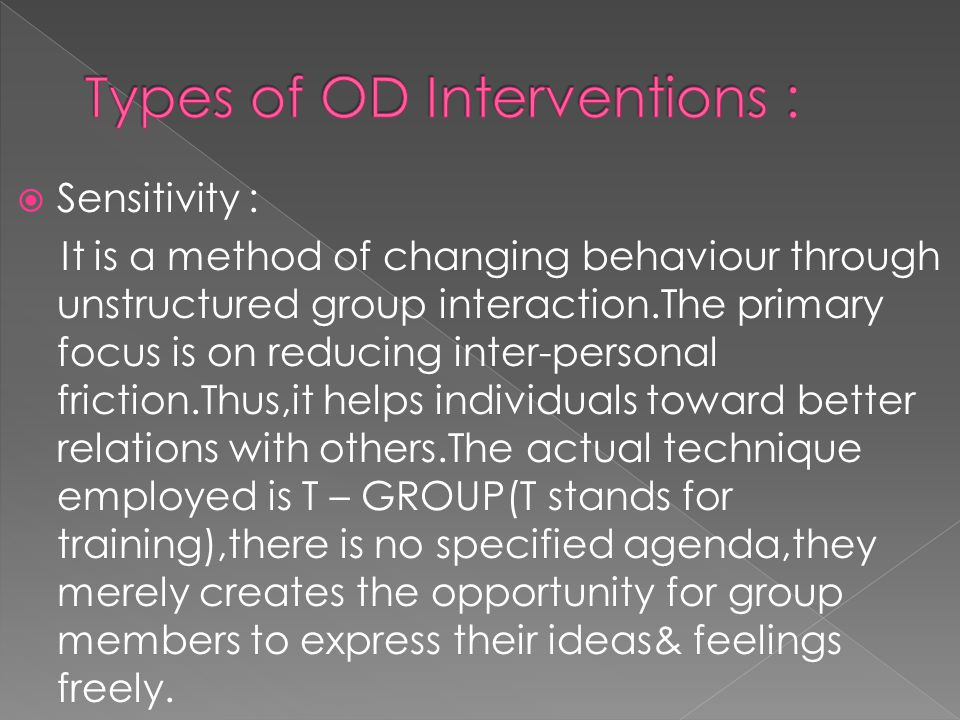 Types of OD Interventions :