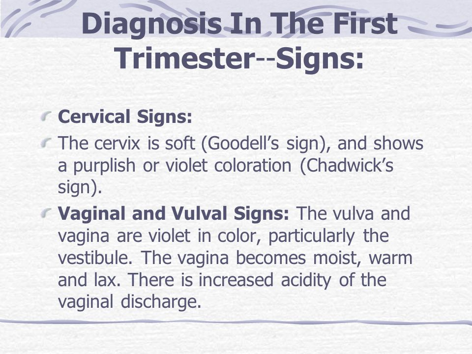 Diagnosis In The First Trimester--Signs: