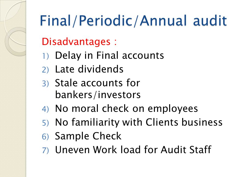 Final/Periodic/Annual audit