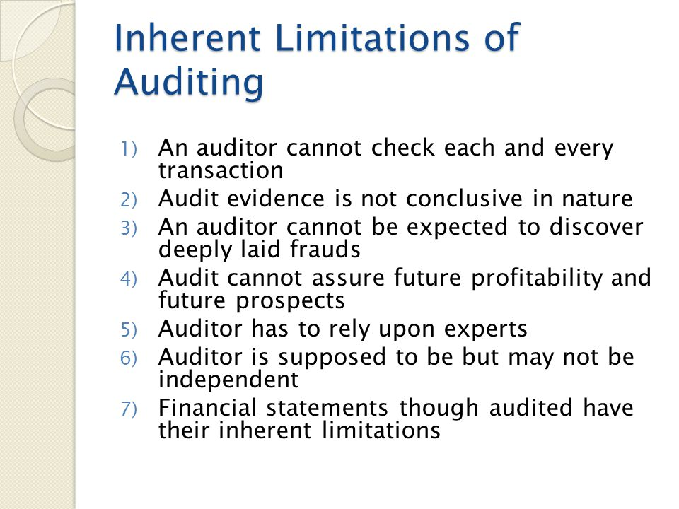 Inherent Limitations of Auditing