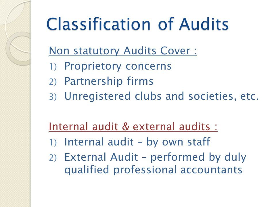 Classification of Audits