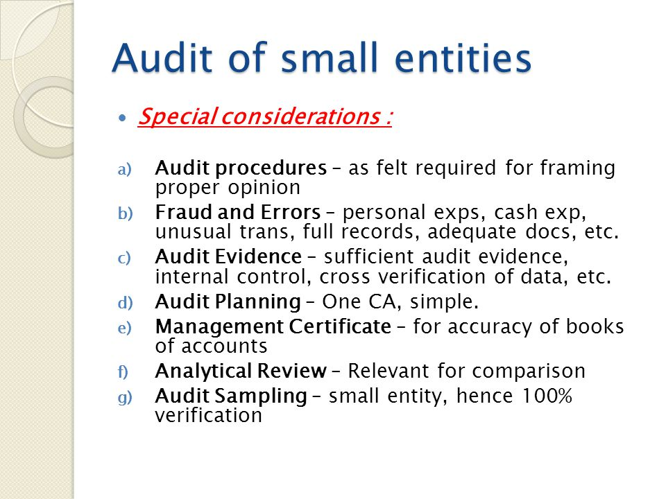 Audit of small entities