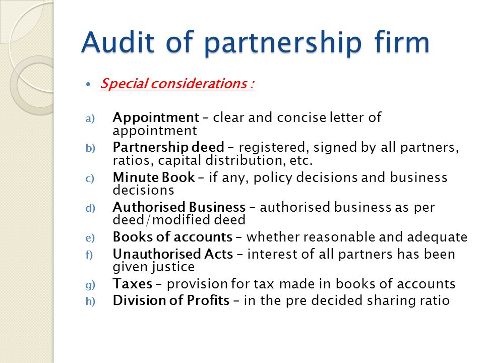 Audit of partnership firm