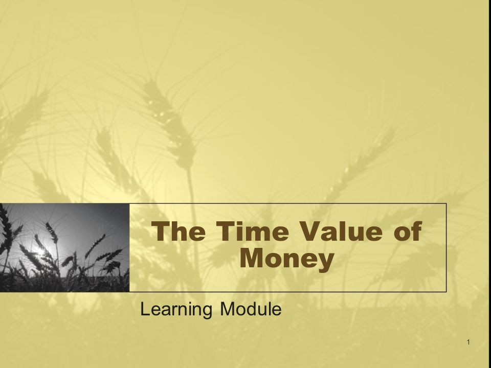 The Time Value of Money Learning Module