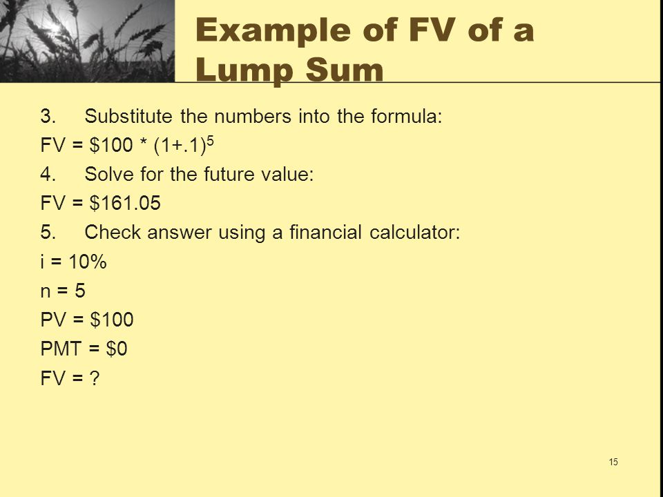 Example of FV of a Lump Sum