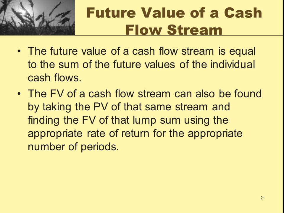 Future Value of a Cash Flow Stream
