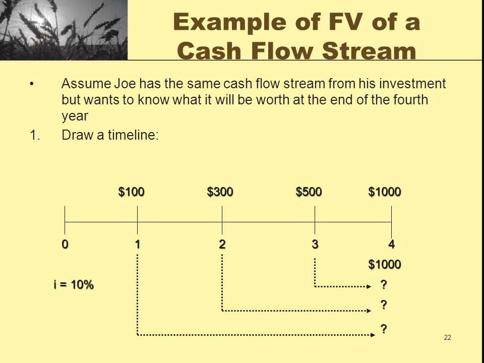 Example of FV of a Cash Flow Stream
