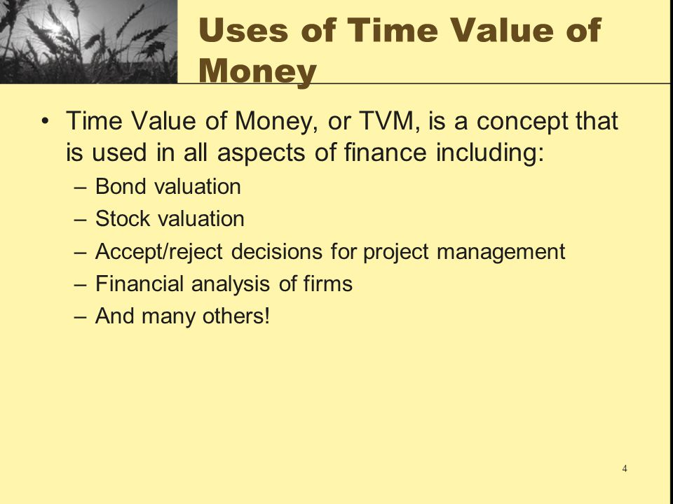 Uses of Time Value of Money