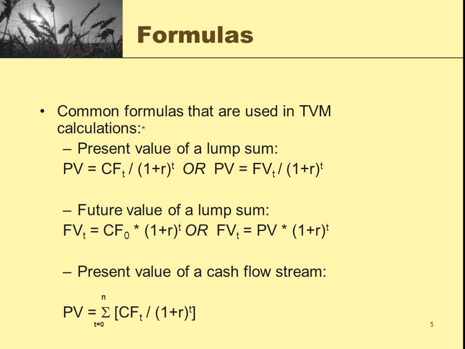 Formulas Common formulas that are used in TVM calculations:*