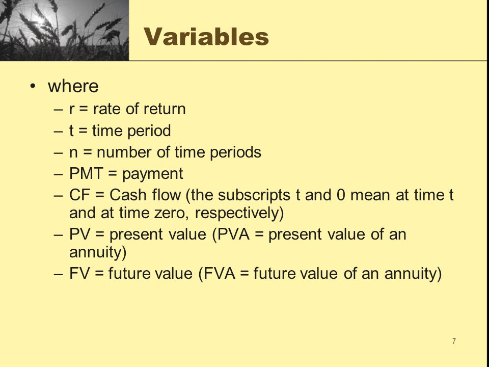 Variables where r = rate of return t = time period