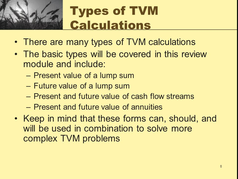 Types of TVM Calculations