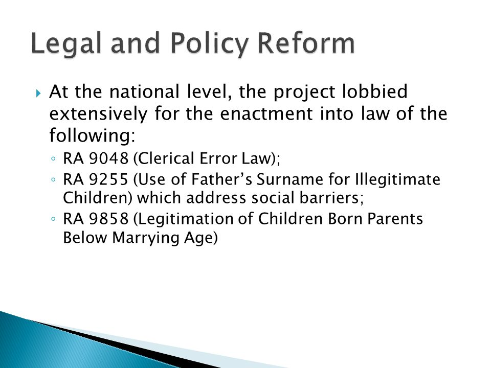 Legal and Policy Reform