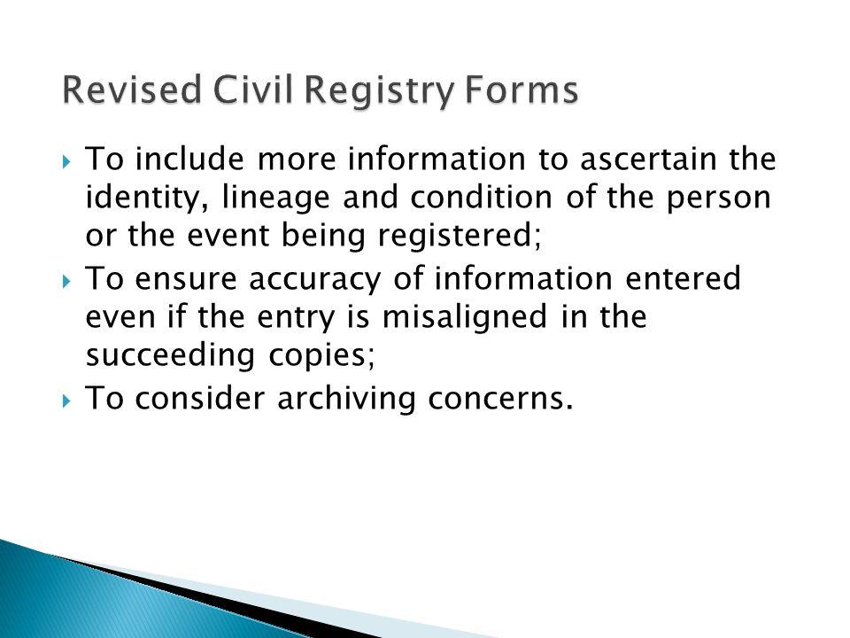 Revised Civil Registry Forms
