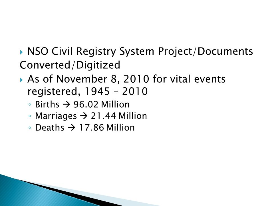 NSO Civil Registry System Project/Documents Converted/Digitized