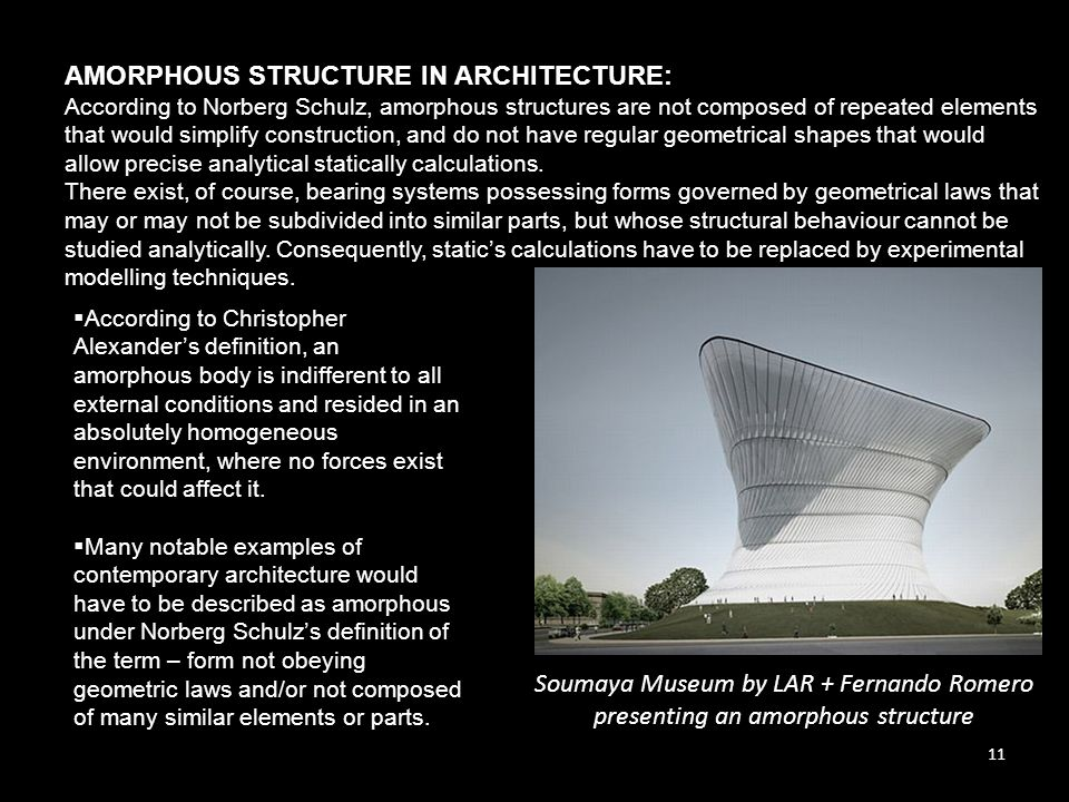 AMORPHOUS STRUCTURE IN ARCHITECTURE: