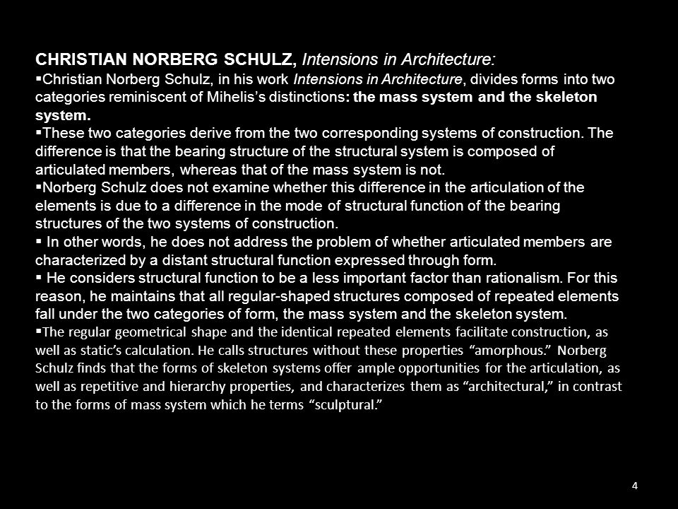CHRISTIAN NORBERG SCHULZ, Intensions in Architecture: