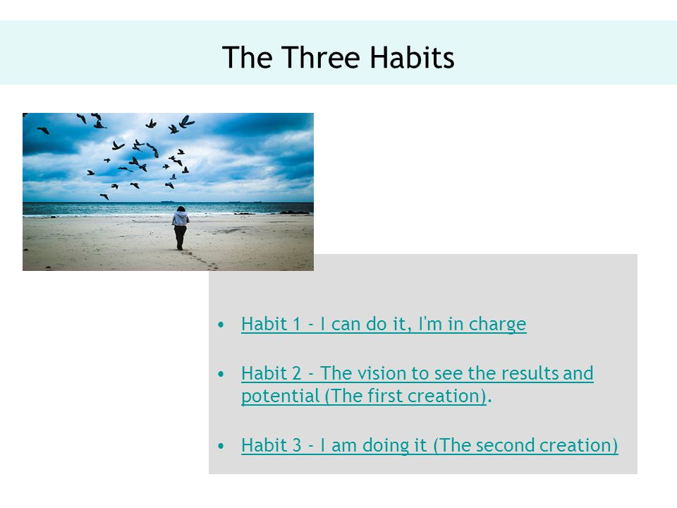 The Three Habits Habit 1 - I can do it, I m in charge