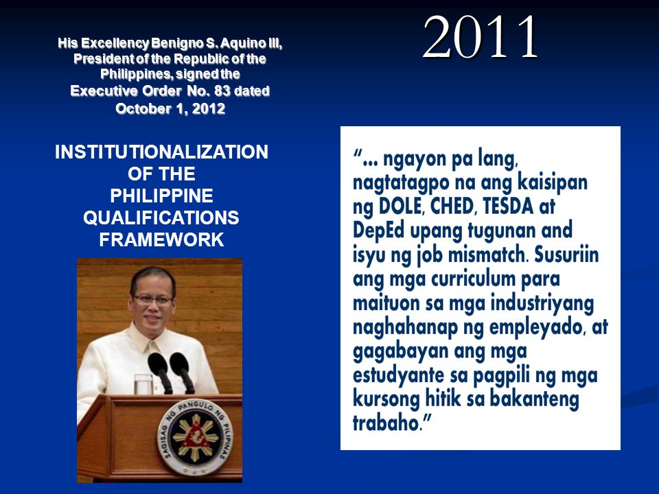 2011 INSTITUTIONALIZATION OF THE PHILIPPINE QUALIFICATIONS FRAMEWORK