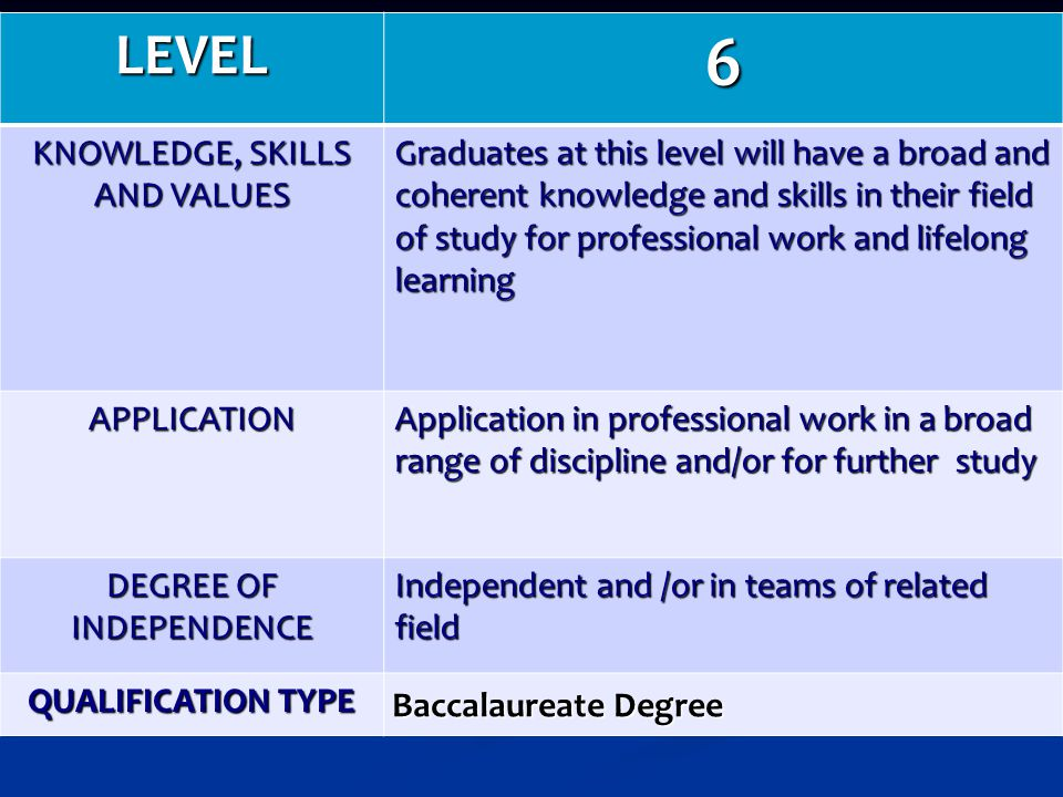 6 LEVEL KNOWLEDGE, SKILLS AND VALUES