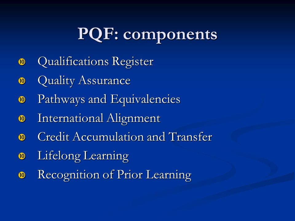 PQF: components Qualifications Register Quality Assurance