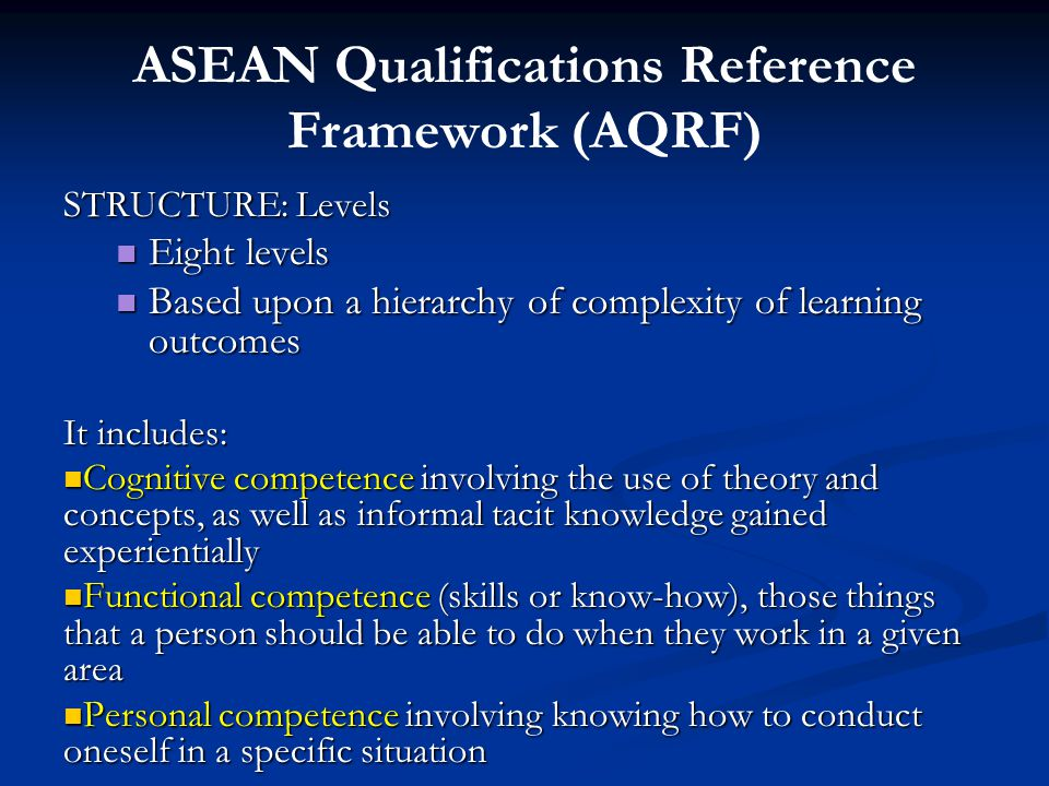 ASEAN Qualifications Reference Framework (AQRF)