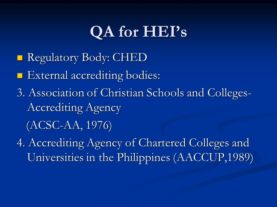 QA for HEI's Regulatory Body: CHED External accrediting bodies: