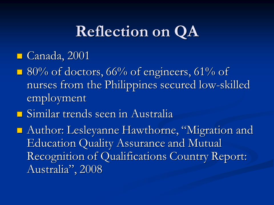 Reflection on QA Canada, 2001