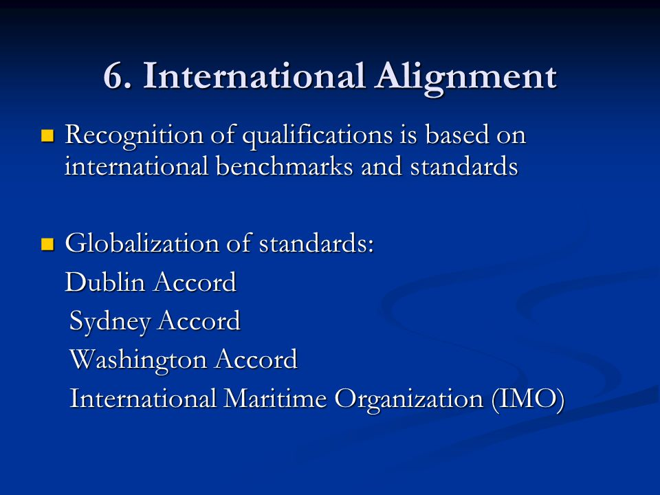 6. International Alignment