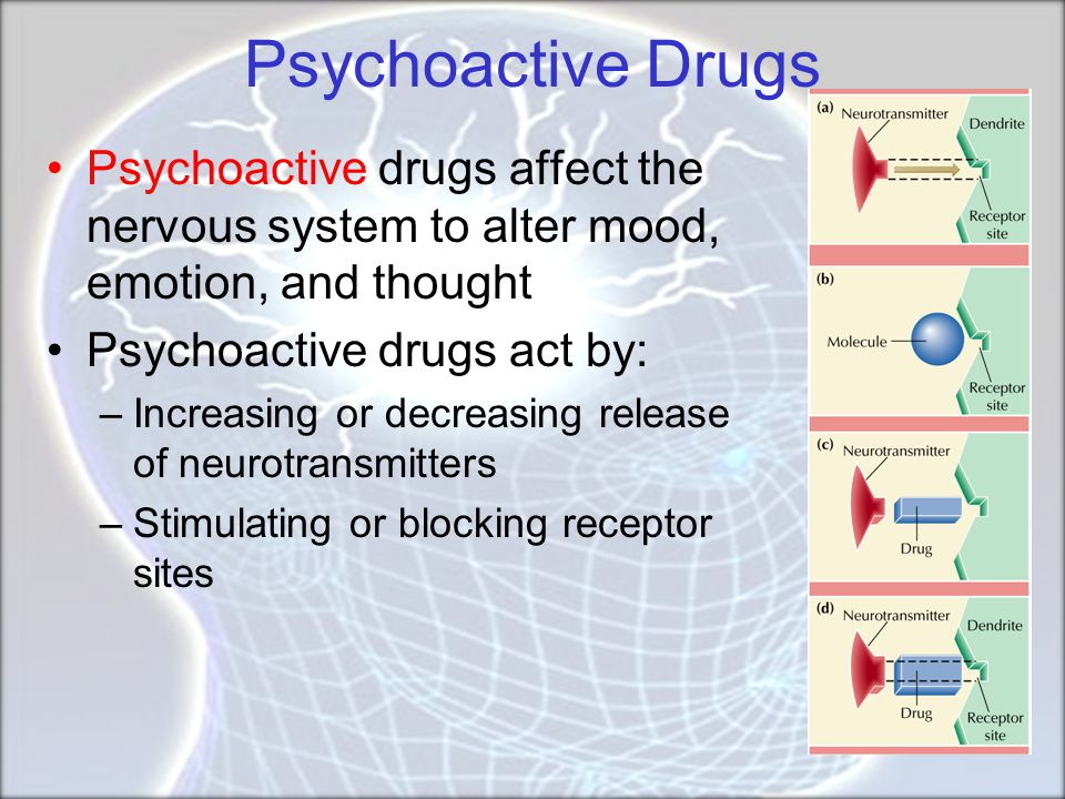 Psychoactive Drugs Psychoactive drugs affect the nervous system to alter mood, emotion, and thought.