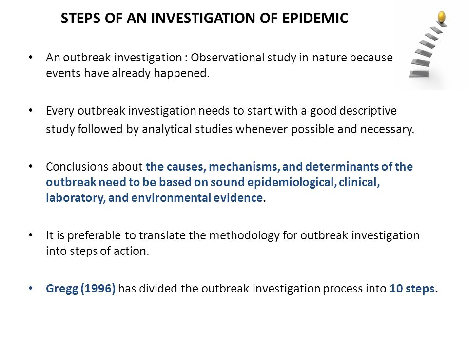 STEPS OF AN INVESTIGATION OF EPIDEMIC