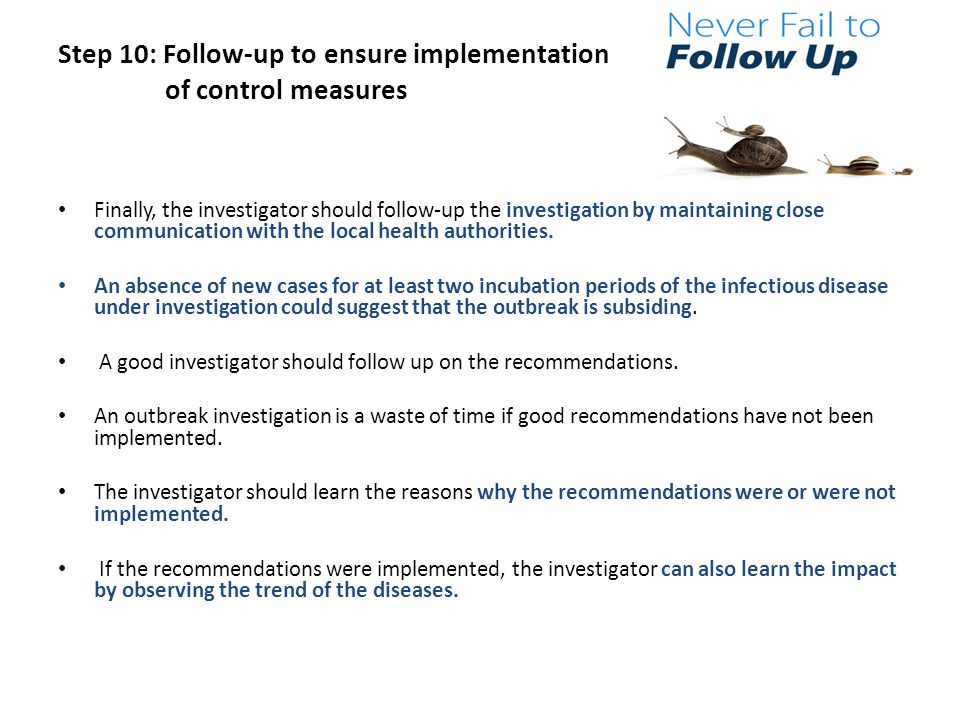 Step 10: Follow-up to ensure implementation of control measures