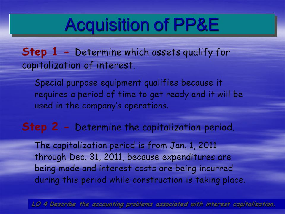 Acquisition of PP&E Step 1 - Determine which assets qualify for capitalization of interest.