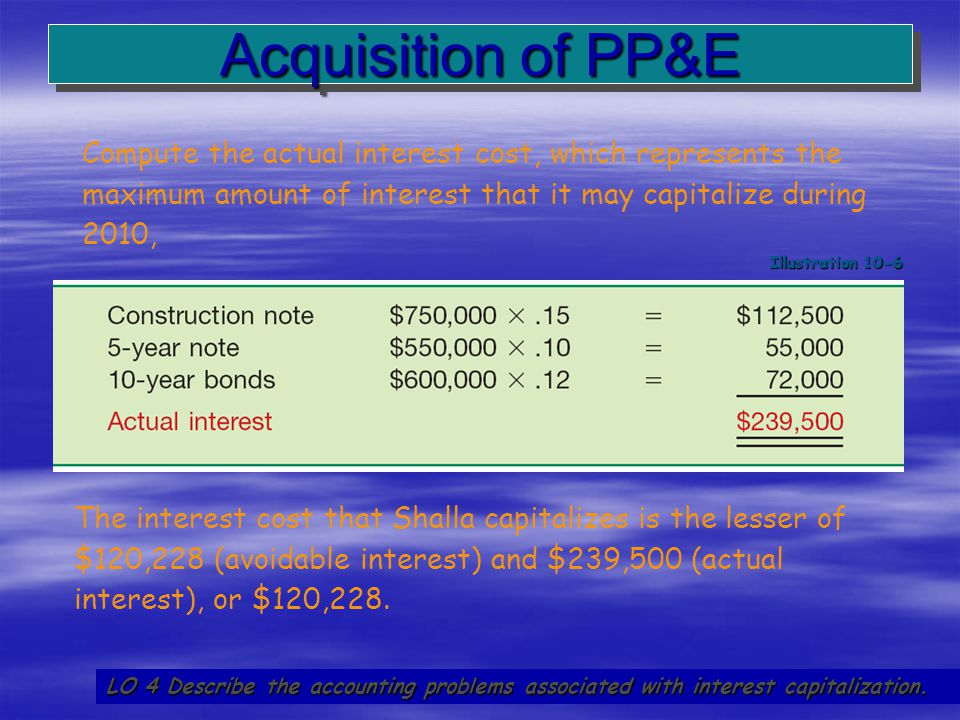Acquisition of PP&E Compute the actual interest cost, which represents the maximum amount of interest that it may capitalize during 2010,