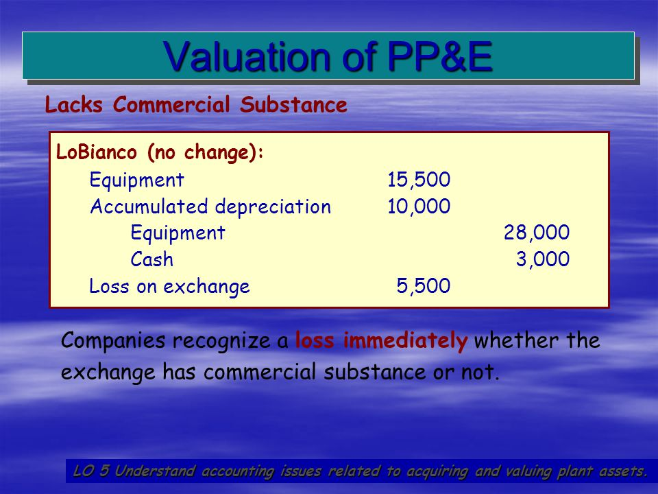 Valuation of PP&E Lacks Commercial Substance