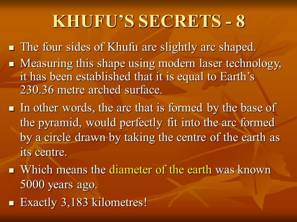 KHUFU'S SECRETS - 8 The four sides of Khufu are slightly arc shaped.