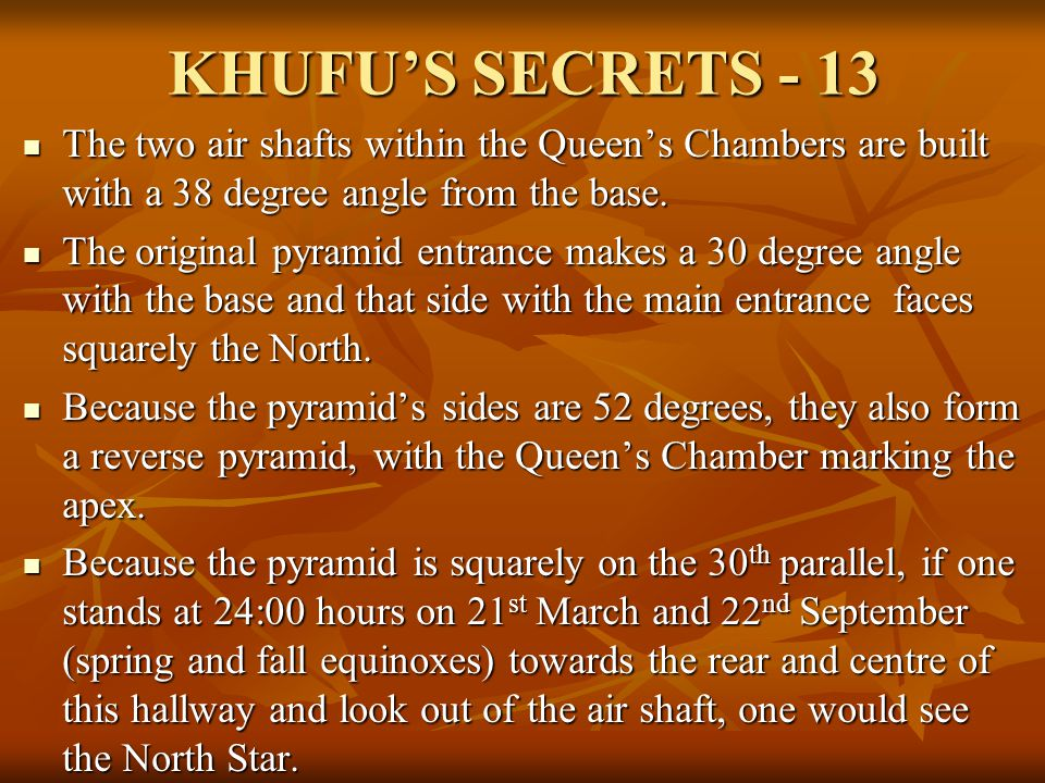 KHUFU'S SECRETS - 13 The two air shafts within the Queen's Chambers are built with a 38 degree angle from the base.