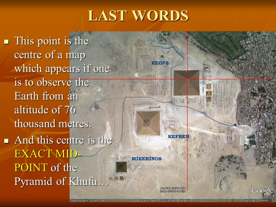 LAST WORDS This point is the centre of a map which appears if one is to observe the Earth from an altitude of 76 thousand metres.