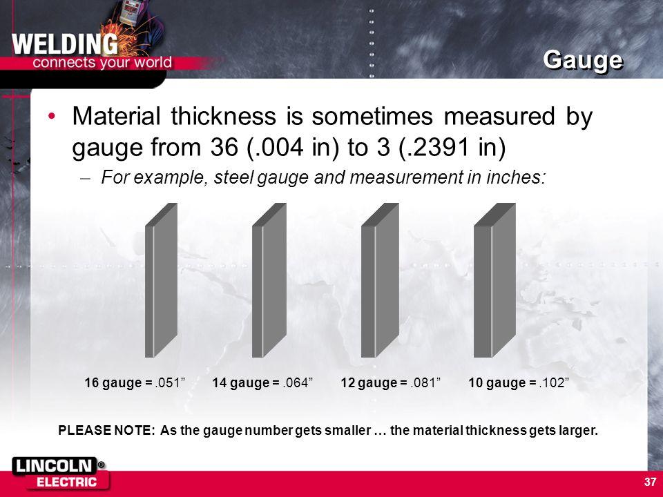 16 gauge = .051 14 gauge = .064 12 gauge = .081 10 gauge = .102